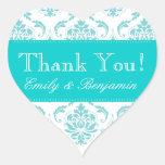 Wedding Names Aqua Damask Thank You Labels Heart Sticker