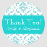 Wedding Names Aqua Damask Thank You Labels Round Stickers