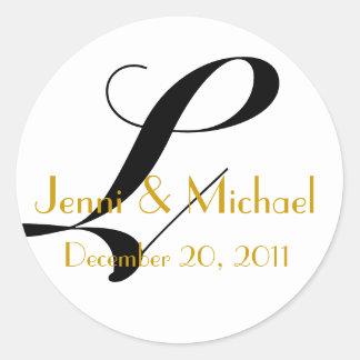 Wedding Names & Date Monogram L Sticker Gold