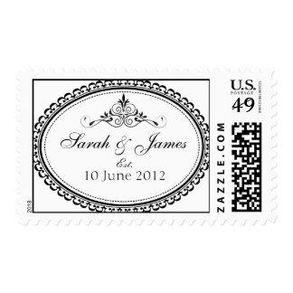 Wedding Names Date Postage Stamp Frame Swirls