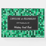 [ Thumbnail: Wedding — Names — Green Tiled Squares Pattern Guest Book ]