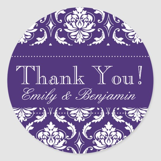 Wedding Names Purple Damask Thank You Labels