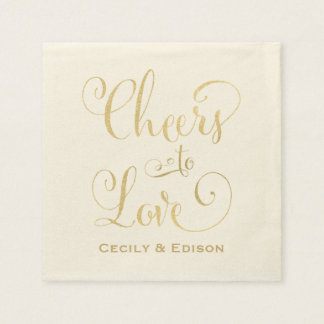Wedding Napkins | Cheers to Love Design Standard Cocktail Napkin