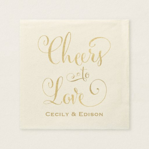 Wedding Napkins   Cheers to Love Design Disposable Napkin