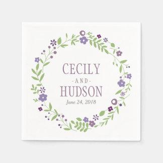 Wedding Napkins   Country Florals Purple Disposable Napkin