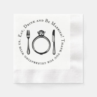 Wedding Napkins | Eat Drink and Be Married Coined Cocktail Napkin
