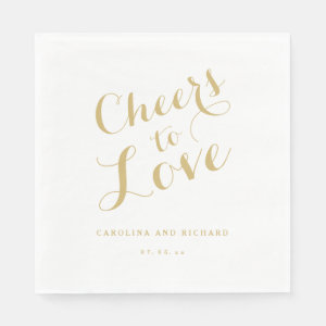 Wedding Napkins | Gold Cheers to Love