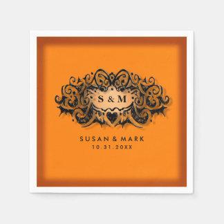 Wedding Napkins - Halloween Orange & Black Disposable Napkins