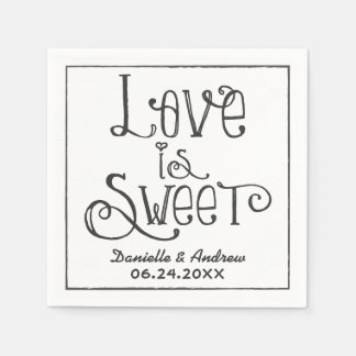 Wedding Napkins | Love is Sweet Custom Design Standard Cocktail Napkin