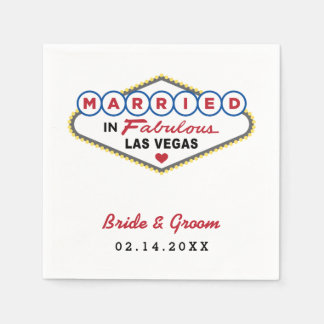 Wedding Napkins | Married in Las Vegas Standard Cocktail Napkin