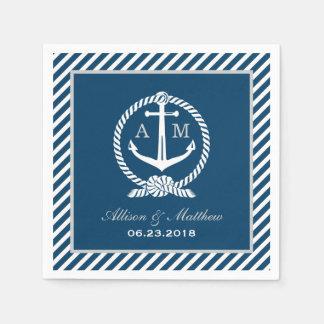 Wedding Napkins | Nautical Monogram Design Disposable Napkins
