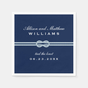 Wedding Napkins | Tied the Knot Monogram Design
