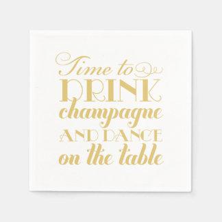 Wedding Napkins | Time to Drink Champagne Standard Cocktail Napkin