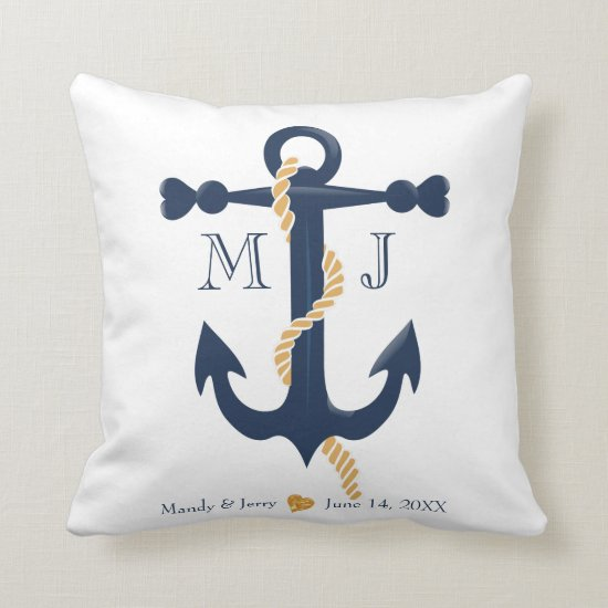 Wedding nautical- anchor monogram throw pillow