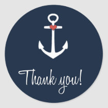 Wedding Navy Blue Nautical Anchor Thank You Classic Round Sticker