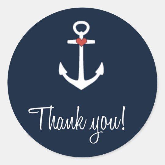 wedding navy blue nautical anchor thank you classic round
