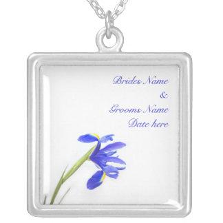 Wedding Necklace - Purple Iris Flower