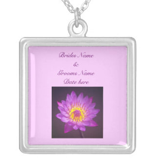 Wedding Necklace - Purple Lotus Flower