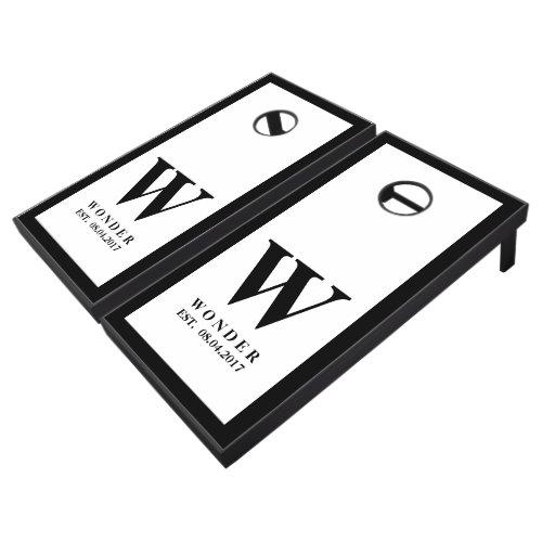 Wedding Newly Wed Monogram black Cornhole Set