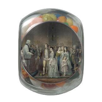 Wedding of George Washington Glass Candy Jar