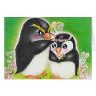 Wedding of penguin card