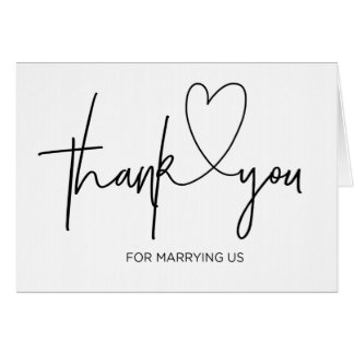 Wedding Officiant Card Thank You For Marrying Us