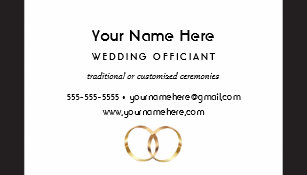 Minister business cards zazzle wedding officiant with black stripes and rings business card colourmoves