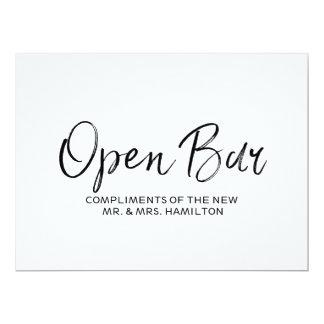"Wedding ""Open Bar "" Sign | Stylish Lettered Card"