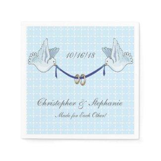 Wedding or Anniversary Custom BlueDoves on Blue BG Paper Napkin