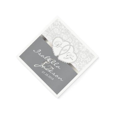 Bride Themed Wedding or Anniversary Design in White and Gray Paper Napkin