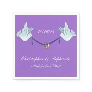 Wedding or Anniversary Doves on Purple Personalize Paper Napkins