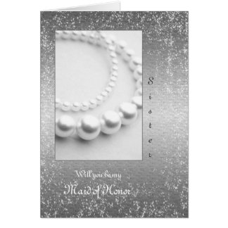 Wedding or Anniversary Pearls Silver Glittery Card