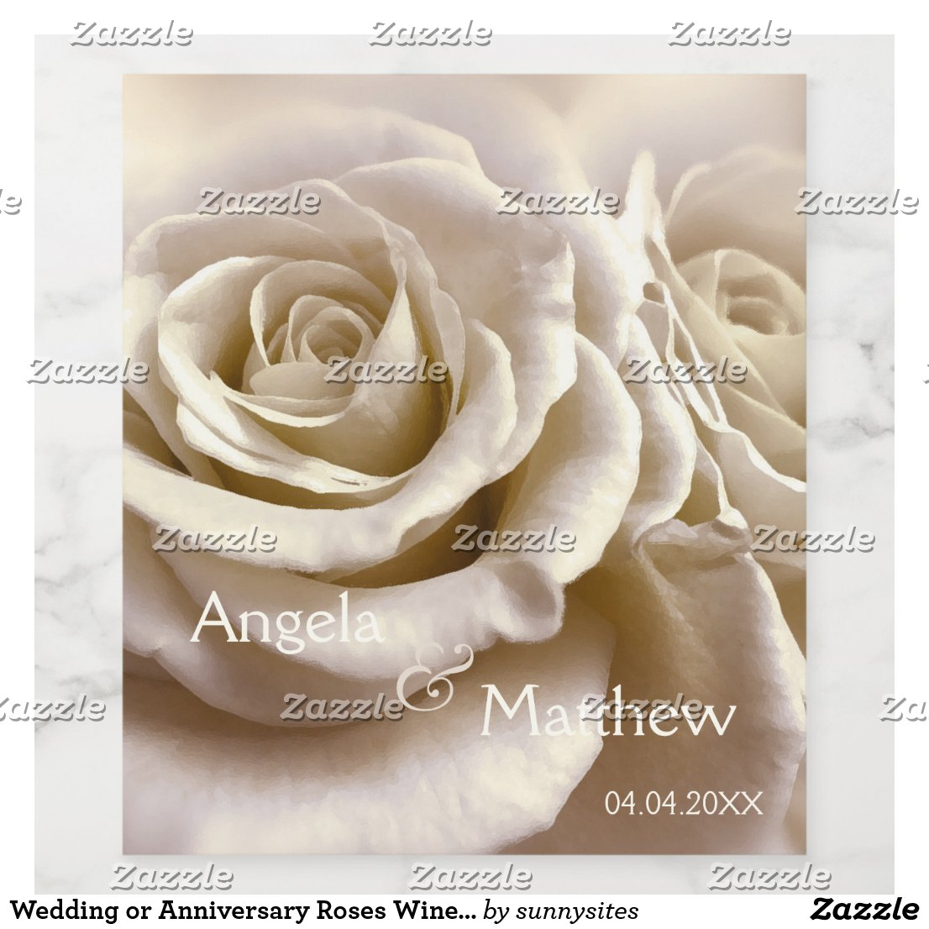 Wedding or Anniversary Roses Wine Label