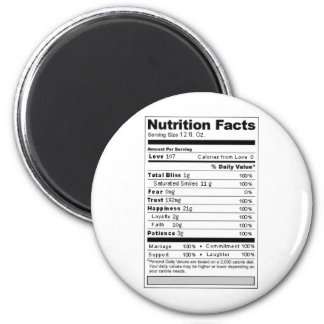 Wedding or Anniversary Sweet Funny Nutrition Label 2 Inch Round Magnet