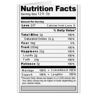 Wedding or Anniversary Sweet Funny Nutrition Label Greeting Cards