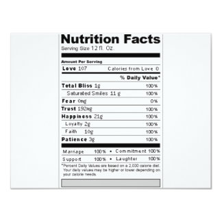 Wedding or Anniversary Sweet Funny Nutrition Label Custom Announcement