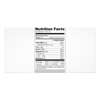 Wedding or Anniversary Sweet Funny Nutrition Label Picture Card