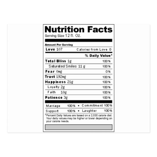 Wedding or Anniversary Sweet Funny Nutrition Label Postcard