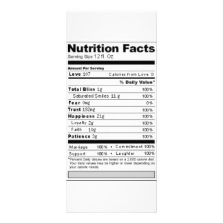 Wedding or Anniversary Sweet Funny Nutrition Label Rack Card