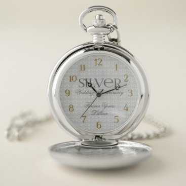 Professional Business Wedding or Business Silver 25th Anniversary Name Pocket Watch