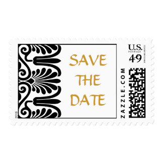 Wedding or Event Save the Date Modern Black Damask Postage