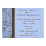 Wedding or Shower Invitation in Blue and Brown