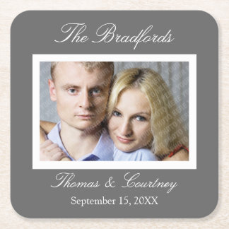 Wedding or Special Event Photo Coasters - Gray Square Paper Coaster