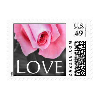 Wedding or Valentine's day postage with pink rose