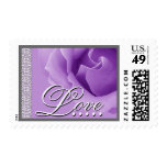 Wedding ORCHID PURPLE Love Rose - Lace Trim Postage Stamps