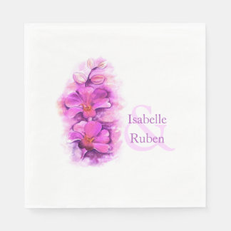 Wedding orchid watercolor lunch paper napkin