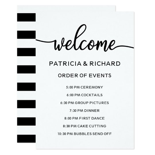 Wedding Order Of Events Timeline Schedule Invitation