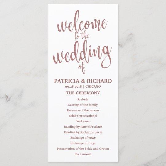 wedding order of service program rose gold script zazzle com