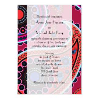 Wedding - Oriental Persian Paisley, Dots - Red Card