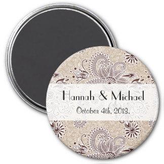 Wedding - Oriental Persian Paisley, Swirls - Beige 3 Inch Round Magnet